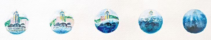 在走廊的展覽中,工藝師Mandy以微型水彩畫關注全球暖化。(受訪者提供)