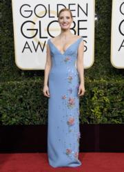 穿著Prada晚裝、佩戴Piaget珠寶的謝茜嘉翠絲頓(Jessica Chastain),充滿艷光,可惜再度失落影后殊榮。