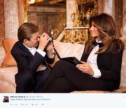 5月母親節時,梅拉尼婭在Twitter分享與兒子巴倫的合照。(Twitter截圖)