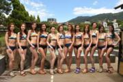 12位候選港姐在台北身穿泳裝會見傳媒,身材高下立見。