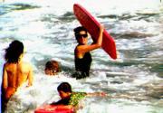 戴安娜(中)與兩名兒子在尼維斯(Nevis)度假時,一起玩水上活動。(法新社資料圖片)