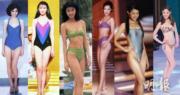 鍾楚紅(左起)、張曼玉、李嘉欣、李珊珊、胡杏兒、陳凱琳選港姐的泳衣美態養眼。