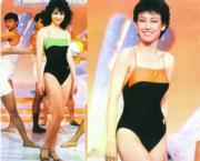 1984年港姐的泳裝,是可以隨時落水的運動款式,圖左為冠軍高麗虹,圖右亞軍馬善衡。(資料圖片)