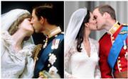 英國王室婚禮:左為1981年王儲查理斯與戴安娜,右為2011年劍橋公爵威廉王子和凱特(法新社資料圖片)