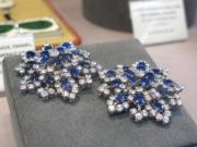A pair of sapphire and diamond brooches, by Bulgari.(黃廷希攝)