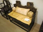 清 黑漆描金山水花卉紋雙連座扶手椅(黃廷希攝)