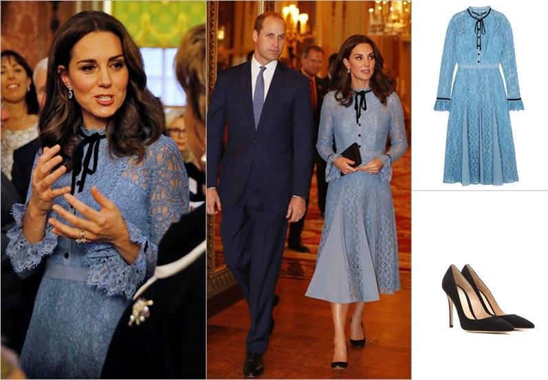 【Kate Middleton 懷孕造型】依然優雅!穿英式粉藍色喱士裙  腳踏幼跟高跟鞋