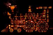 南瓜燈飾砌成火車頭(The Great Jack O'Lantern Blaze facebook圖片)