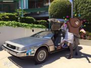 【大阪環球影城】電影《回到未來》中,用作穿越時空的時光車。(黃廷希攝)