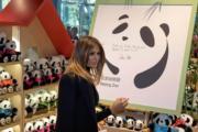 2017年11月10日,美國總統特朗普夫人梅拉尼婭參觀北京動物園熊貓館。(法新社)