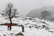 2017年11月15日,印度Sonamarg初雪(法新社)