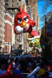 【美國感恩節巡遊】憤怒鳥造型氣球(法新社)