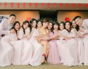 吳嘉熙、蔡穎恩、陳凱琳、陳瀅組成「最索姊妹團」,陪陳嘉寶出嫁。(網上圖片)