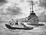 維港內的潛艇補給艦。(圖片及資料由香港社會發展回顧項目提供)