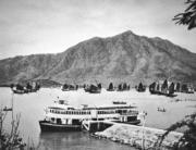 油麻地小輪在青山灣的傳統漁船間十分突出。(圖片及資料由香港社會發展回顧項目提供)