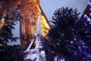 【世界各地聖誕樹】法國巴黎艾菲爾鐵塔下的聖誕樹(法新社)