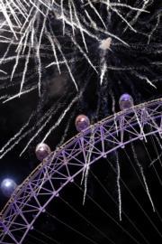 【2018煙花賀新年】英國倫敦London Eye(法新社)