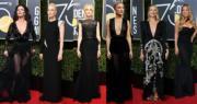 爲了配合Time's Up抗性侵號召,今年金球獎頒獎禮女星絕大部分以黑色晚裝上陣。(法新社)