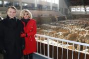【第一夫人時裝】2018年1月8日,法國總統馬克龍(左)與太太布麗吉特(右)在西安參觀秦始皇兵馬俑。(法新社)
