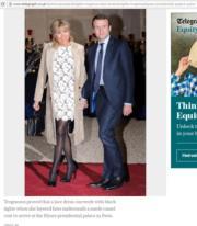 布麗吉特(左)以白色蕾絲裙配黑色高跟鞋,展現時尚優雅。(《Telegraph》網站截圖)