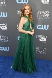 謝茜嘉翠絲頓(Jessica Chastain)選擇了綠色的Vionnet 長裙。(法新社)