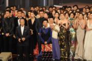 汪明荃與羅仲炳代表全台幕前、後領50周年光輝大獎。