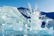 在第七屆中國哈爾濱國際組合冰雕比賽,中國哈爾濱冰雪聯盟隊作品《長生天》獲二等獎。(中新社)