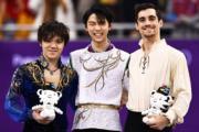 【平昌冬奧】男子單人花式滑冰三甲(左起):宇野昌磨、羽生結弦、費爾南德斯(法新社)