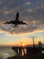 「手機組」佳作得獎者:蘇詠琴,作品:日落,機場,拍攝地點:機場南環路(國家地理雜誌提供 )