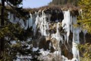 2018年2月11日,地震半年後,九寨溝生態美景慢慢恢復。圖為封凍的諾日朗冰瀑布。(中新社)