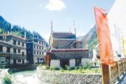 九寨溝甲蕃古城為仿古建築,藏式傳統。(2005年資料圖片)