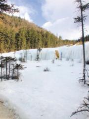 九寨溝神仙池風景區中凝結為冰幕的水簾洞。(2004年資料圖片)