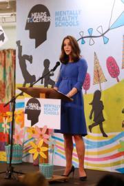 2018年1月23日,凱特在英國倫敦Roe Green Junior School發表演說。(法新社)