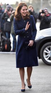 2018年1月10日,英國劍橋公爵夫人凱特在倫敦西部Feltham探訪關注兒童精神健康的學校Reach Academy。(法新社)
