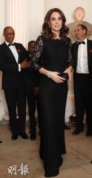 2017年11月7日,英國劍橋公爵夫人凱特懷着第3胎出席活動。(法新社)