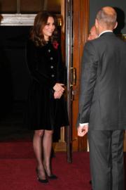 2017年11月11日,懷孕的凱特身穿連身裙出席活動。(法新社)