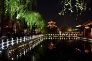 2018年3月,濟南大明湖夜景(新華社)