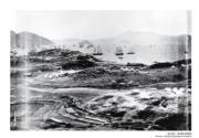 【香港百年蛻變】第二次鴉片戰爭期間,在九龍半島的英法聯軍軍營及在港口泊碇的戰船,圖片約攝於1859-1860年間。(圖片及資料由饒宗頤文化館提供)