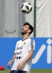 【世界盃】2018年6月24日,美斯練習中。(法新社)