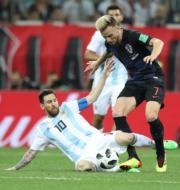 【世界盃‧阿根廷戰克羅地亞】阿根廷前鋒美斯 (穿藍白10號球衣) (新華社)