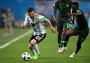 【世界盃‧阿根廷挫尼日利亞2:1】阿根廷前鋒美斯 (左) (法新社)