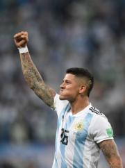 【世界盃‧阿根廷挫尼日利亞2:1】阿根廷馬高斯盧祖 (Marcos Rojo) (法新社)