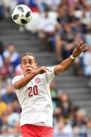 【世界盃‧丹麥對澳洲】丹麥前鋒Yussuf Poulsen(法新社)