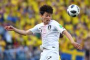 【世界盃‧韓國對瑞典】韓國球員李在城(法新社)