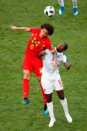 【世界盃‧比利時對巴拿馬】比利時中鋒Axel Witsel (左)(法新社)