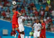 【世界盃‧比利時對巴拿馬】比利時Thorgan Hazard (左)(法新社)