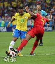 【世界盃8強-巴西1:2負比利時】尼馬(左)(新華社)