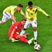 【世界盃‧英格蘭以12碼淘汰哥倫比亞】哈利卡尼 (穿紅色球衣) (法新社)