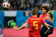 【世界盃4強 法國1︰0挫比利時】法國前鋒基沙文 (中) (法新社)