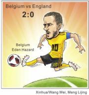 【世界盃2018‧季軍戰】比利時以2:0擊敗英格蘭,奪季軍。 (新華社)